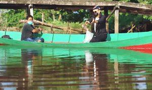 Wali Kota Pontianak, Edi Rusdi Kamtono saat menebar benih indukan ikan nila di parit Sungai Jawi Pontianak